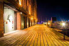 Henderson's wharf at night, on the waterfront in fells point, baltimore Stock Photos