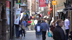 Busy street in Gamla Stan Stock Footage