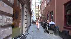 Very quaint sidewalk cafes in Gamla Stan Stock Footage