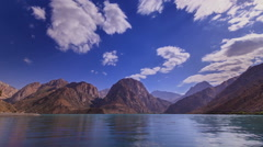 Clouds over the lake. Blurred. IskanderKul. Time Lapse. 1280x720 Stock Footage