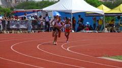 Sportswomen run on track. Race. Runners. Athletes. 1500m women.  Stock Footage