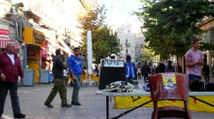 Photographer and visitors in Ben Yehuda Street . Jerusalem . Israel Stock Footage