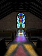 Stained glass window church Stock Illustration