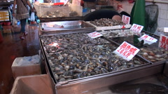Macao. Clam in the Red market in Macau Stock Footage