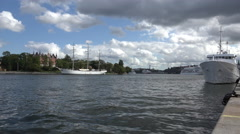 Ships docked in Stockholm Stock Footage