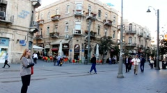 Old Jerusalem-  crossroads  Ben Yehuda and Jaffo str 3 - stock footage