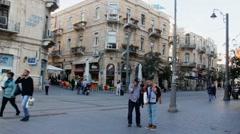 Stock Video Footage of Old Jerusalem-  crossroads  Ben Yehuda and Jaffo str 2