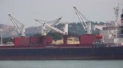 Handheld Industiral Ship At Seaport Island Of Naoshima Japan 4K Stock Footage