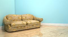 old classic sofa in a room - stock illustration