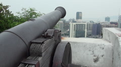 Cannon in Macao Guia Fortress or Our Lady Guia Stock Footage