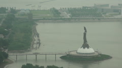 The Statue of Guanyin. Overlook Guanyin statue in Macao Stock Footage