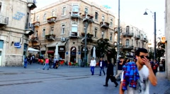 Visitors in crossroad  Ben Yehuda  and Jaffo Street . Jerusalem - time lapse Stock Footage