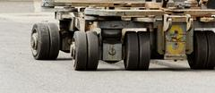 solid rubber wheels - stock photo