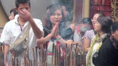 People worship gods in Macau, A-Ma Temple, Ma Kok Miu Stock Footage