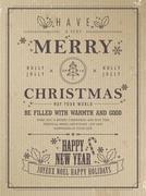 Retro merry christmas poster Stock Illustration