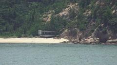 Small Beach Cove Coastal Japanese Island Tracking 4K Stock Footage