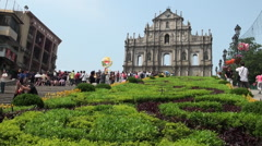 Ruins of St. Paul's in Macau in the front of façade. Stock Footage