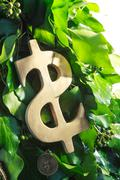golden dollar symbol - stock photo