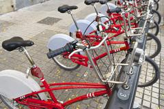 rental bicycles - stock photo