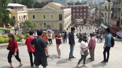 Tourist in Macau, Ruins of St. Paul's Stock Footage
