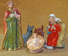 nativity scene with baby jesus - stock photo