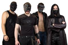 Portrait of the metal band in black clothes - stock photo