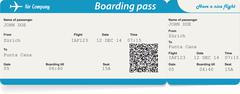 Stock Illustration of Vector image of airline boarding pass ticket with QR2 code