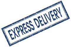 express delivery blue square stamp isolated on white background - stock illustration