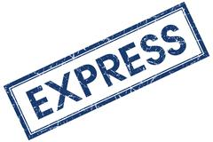express blue square stamp isolated on white background - stock illustration