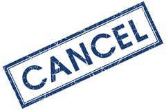 cancel blue square stamp isolated on white background - stock illustration