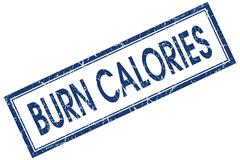 Burn calories blue square stamp isolated on white background Stock Illustration