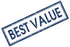 Best value blue square stamp isolated on white background Stock Illustration