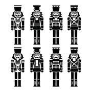 Christmas nutcracker - soldier figurine black icons set Piirros
