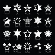 Stars white icons with reflection isolated on black Stock Illustration