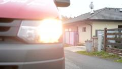 Car van arrives in front of house - street Stock Footage