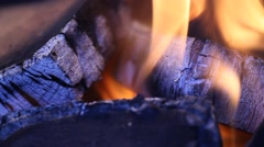 Fire burning with red hot flame and smoke Stock Footage