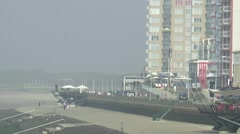 Beach of Vlissingen in the morning mist Stock Footage