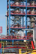 Petrochemical plant construction site industry background Stock Photos
