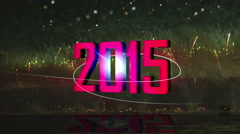 2015 fireworks light flare back Stock Footage
