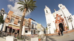 Parish where the Virgin del Rocio during his stay in the town of Almonte. Stock Footage