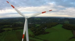 Steady aerial view of a windmill Stock Footage
