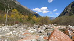 4k timelapse of red stones and yellow trees in southwest China in autumn Stock Footage