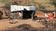 Indian poor family and a shack in the Thar Desert. Pushkar, India Stock Footage
