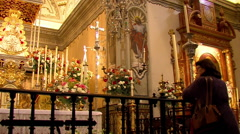 As every seven years the Virgin del Rocio visit the town of Almonte, Huelva. Stock Footage