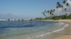 Stilt Fishing in Galle close to the beach, Sri Lanka Stock Footage