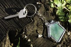 Keychain in a shape of house - stock photo