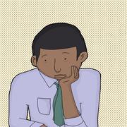 bored man in necktie - stock illustration