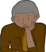 bored mature businessman - stock illustration