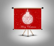 merry christmas concept, decoration ball on banner - stock illustration