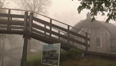 Giethoorn village by boat in the mist Stock Footage